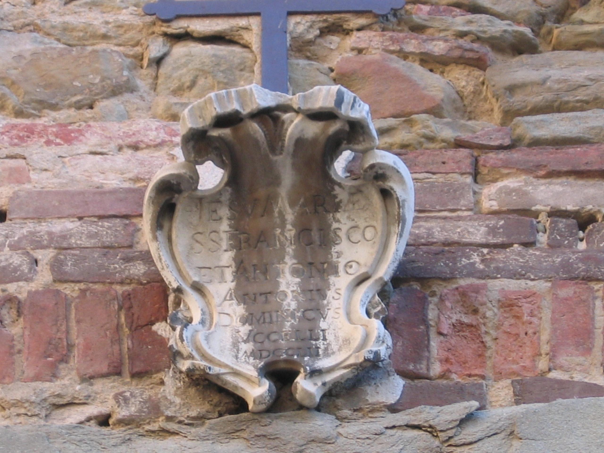 Cartiglio sul Palazzo dei Conti Uccelli di Tortona - 1700 ca.